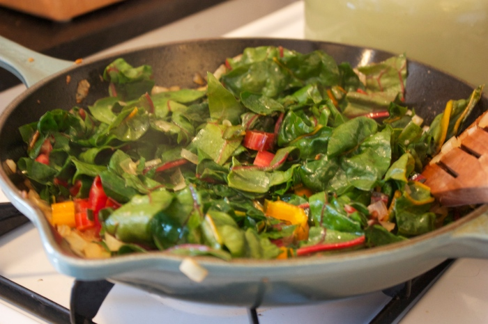 This is what the rainbow Swiss chard will look like cooked down